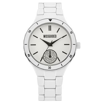 Missguided Stone Set Subdial White Alloy Bracelet Watch - Product number 1098055