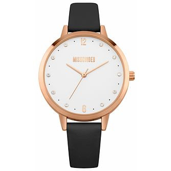 Missguided Ladies' Rose Gold Tone Black PU Strap Watch - Product number 1098098