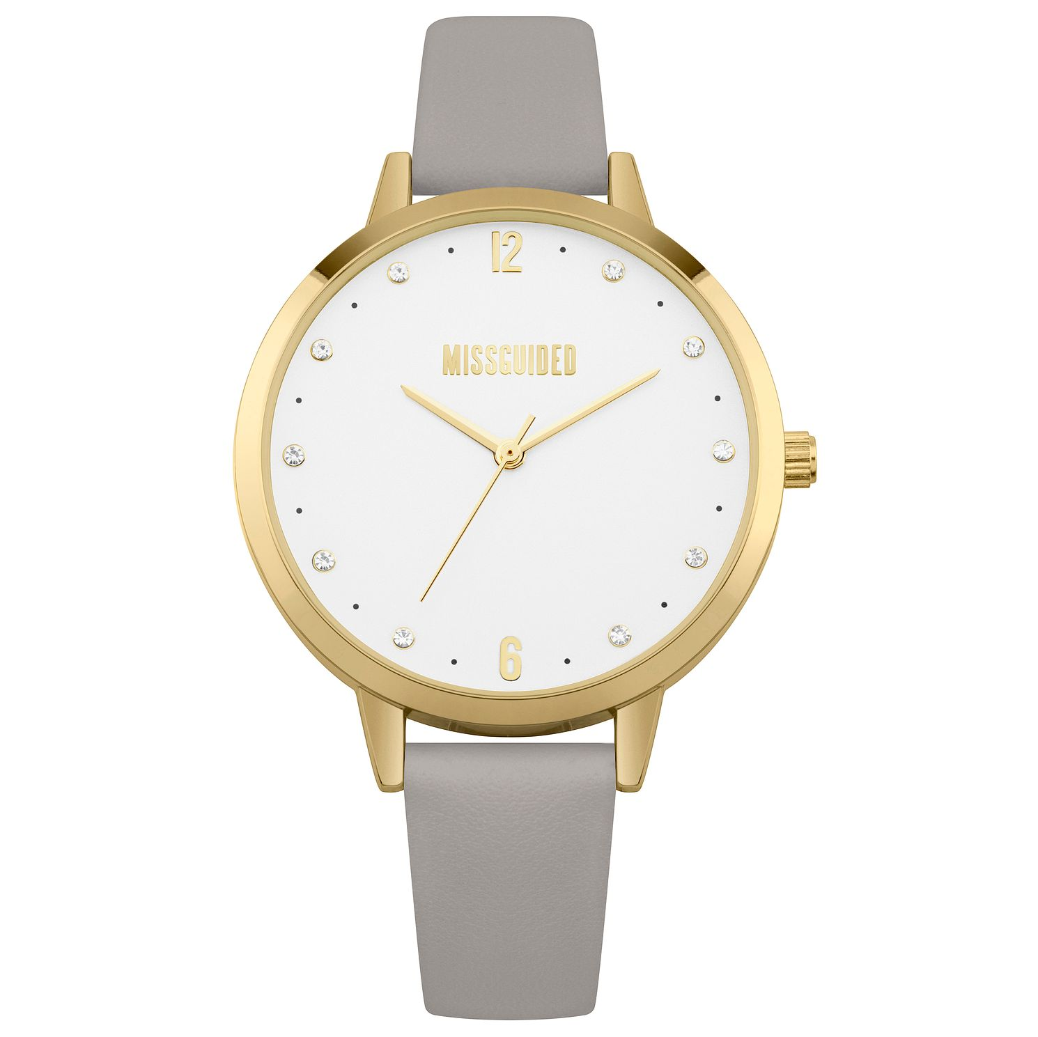 Missguided Ladies' Gold Tone Grey PU Strap Watch - Product number 1098128