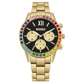 Missguided Ladies' Rainbow Stone Gold Tone Bracelet Watch - Product number 1098179