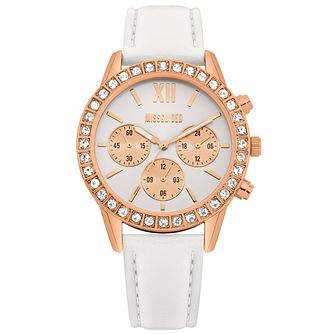 Missguided Ladies' Rose Gold Tone White PU Strap Watch - Product number 1098268