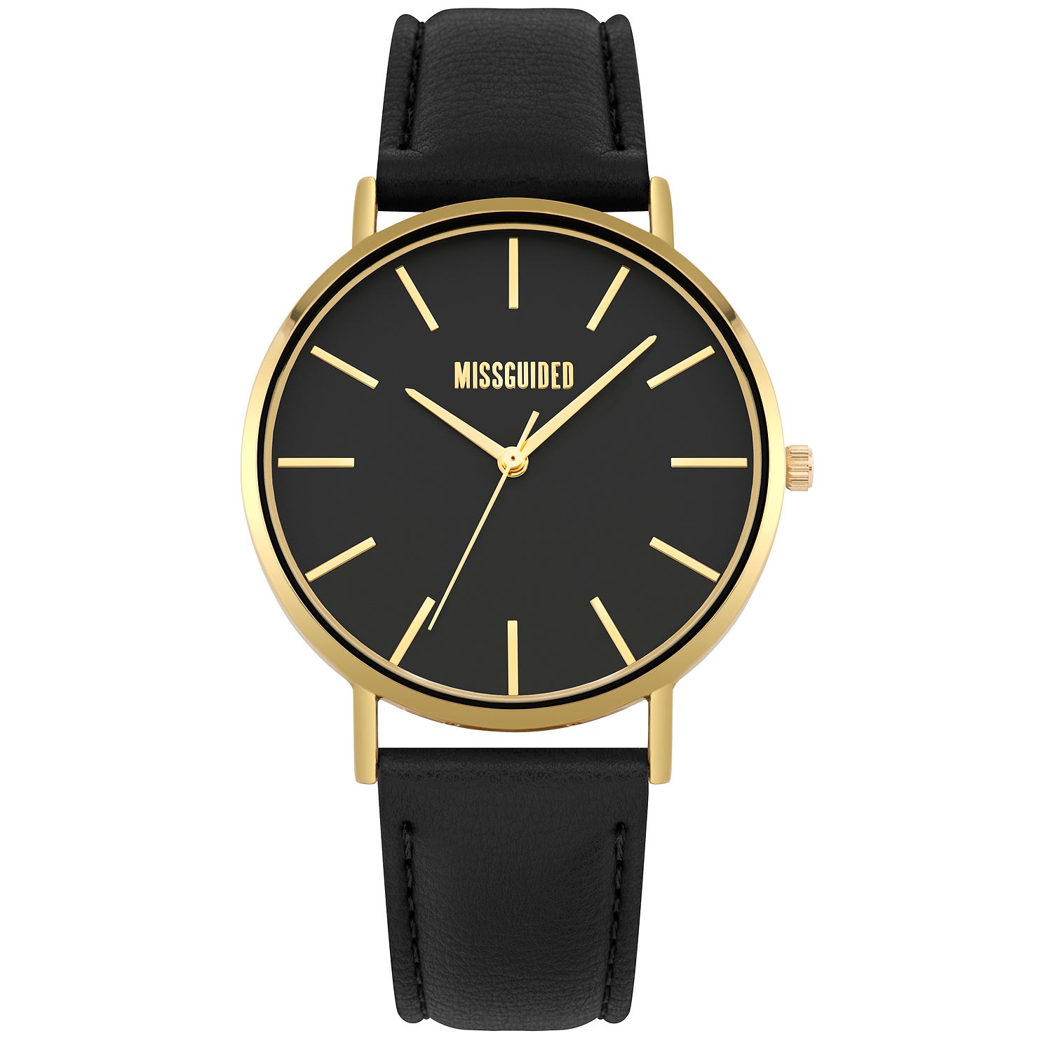 Missguided Ladies' Gold Tone Black PU Strap Watch - Product number 1098306