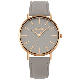 Missguided Ladies' Rose Gold Tone Grey PU Strap Watch - Product number 1098314