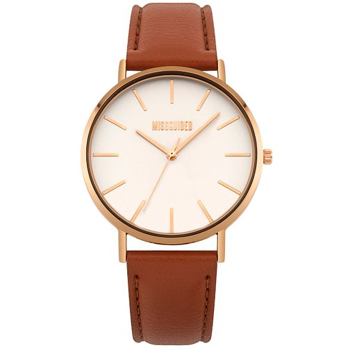 Missguided Ladies' Rose Gold Tone Tan PU Strap Watch - Product number 1098330