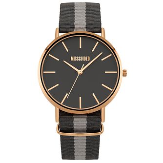 Missguided Ladies' Rose Gold Tone Grey Fabric Strap Watch - Product number 1098357