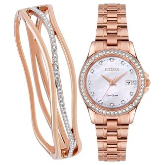 Citizen Silhouette Rose Gold Plated Bracelet & Watch Set - Product number 1098489