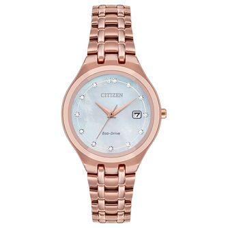 Citizen Ladies' Eco-Drive Diamond Dial Rose Bracelet Watch - Product number 1098519