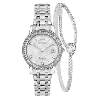 Citizen Silhouette Ladies' Eco-Drive Watch & Bracelet Set - Product number 1098527