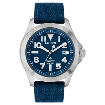 Citizen Men's Eco-Drive Titanium Blue Strap Watch - Product number 1098640