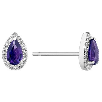9ct White Gold Pear Cut Amethyst & Diamond Halo Earrings - Product number 1098721
