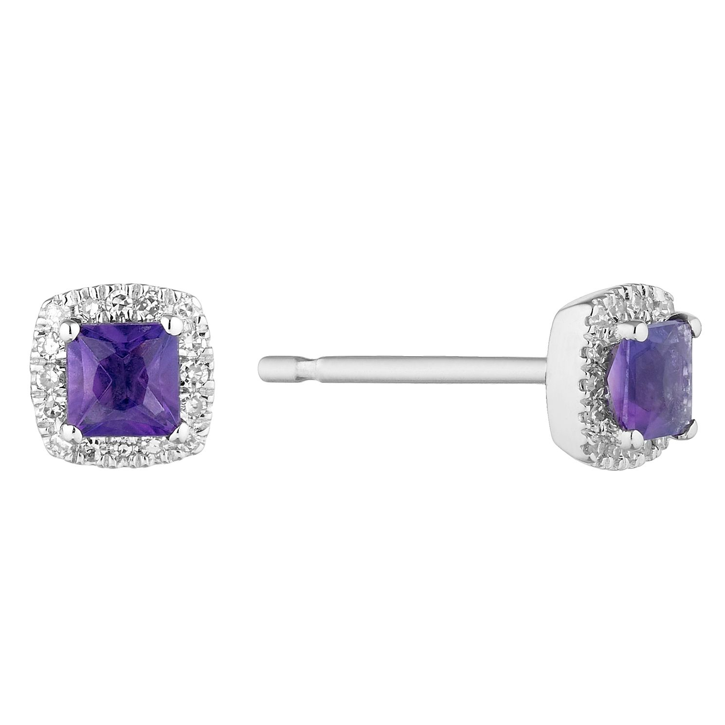 9ct White Gold Cushion Cut Amethyst & Diamond Halo Earrings - Product number 1098756