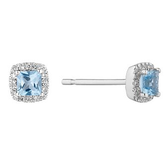9ct White Gold Cushion Cut Topaz & Diamond Halo Earrings - Product number 1098764