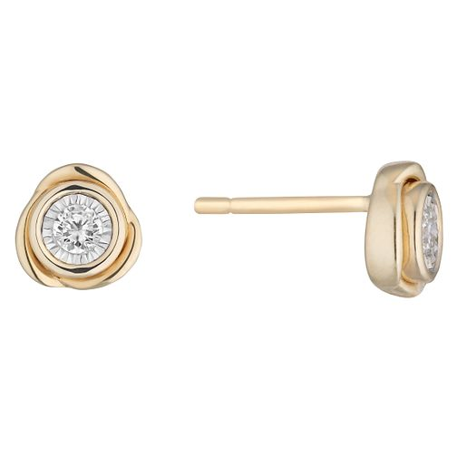 9ct Yellow Gold 0.13ct Diamond Illusion Knot Stud Earrings - Product number 1098780