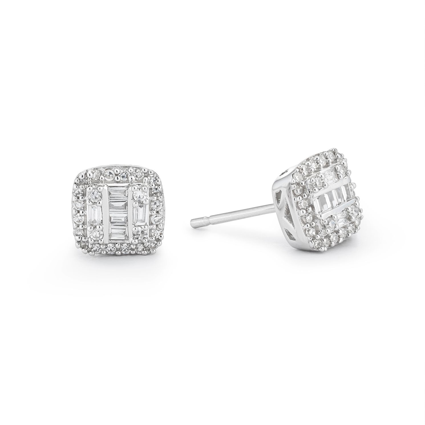 9ct White Gold Cushion Cut 0.15ct Total Diamond Earrings - Product number 1098799