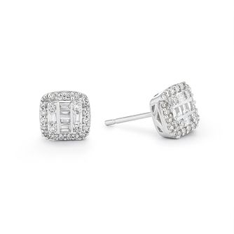 9ct White Gold Cushion Cut 0.15ct Diamond Illusion Earrings - Product number 1098799