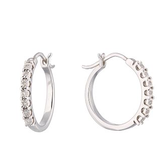 Sterling Silver Diamond Illusion Hoop Earrings - Product number 1098942
