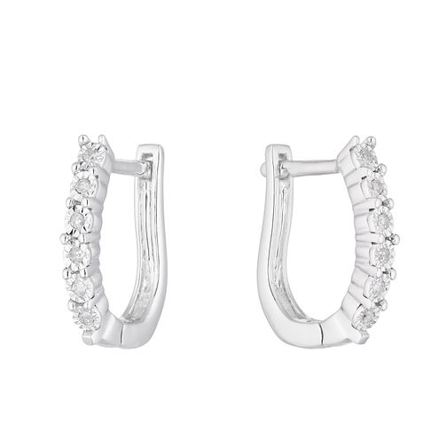 Sterling Silver Diamond Illusion Hoop Earrings - Product number 1098950