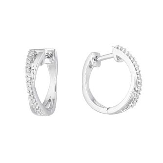 Sterling Silver 1/10ct Diamond Crossover Huggie Earrings - Product number 1098977