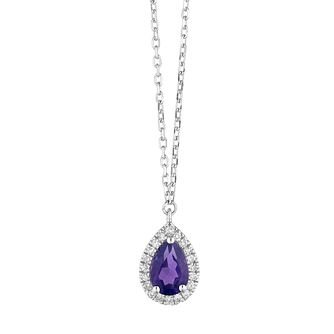 9ct White Gold Pear Cut Amethyst & Diamond Halo Pendant - Product number 1099000