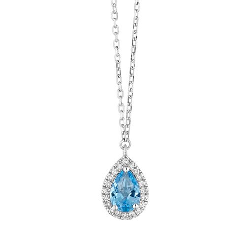 9ct White Gold Pear Cut Blue Topaz & Diamond Halo Pendant - Product number 1099078
