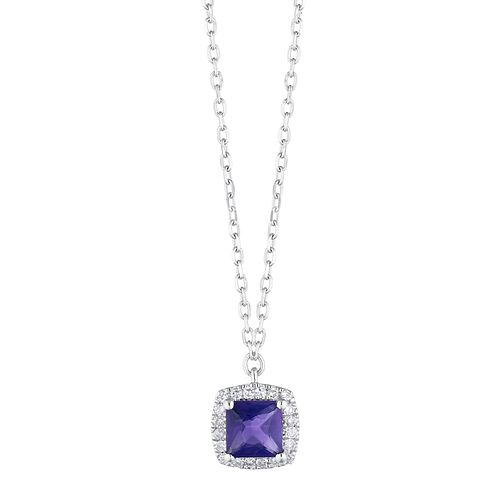 9ct White Gold Cushion Cut Amethyst & Diamond Halo Pendant - Product number 1099299