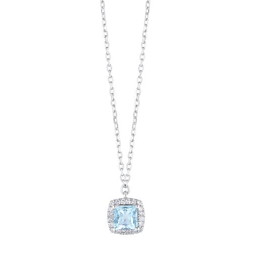 9ct White Gold Cushion Cut Blue Topaz & Diamond Halo Pendant - Product number 1099329