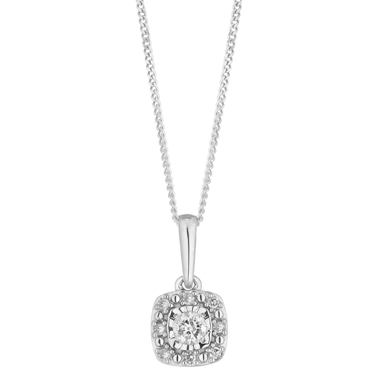 9ct White Gold Cushion 1/10ct Diamond Illusion Halo Pendant - Product number 1099361