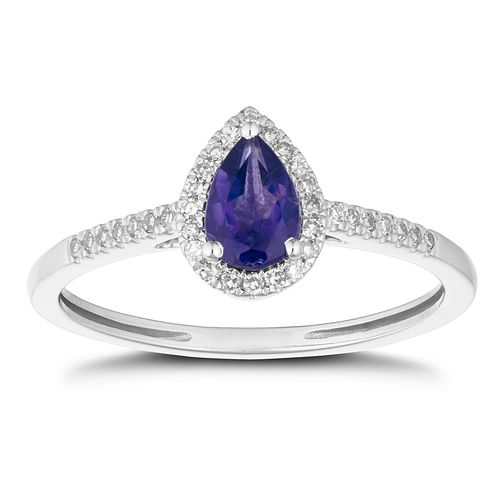 9ct White Gold Pear Cut Amethyst & 1/10ct Diamond Halo Ring - Product number 1099523