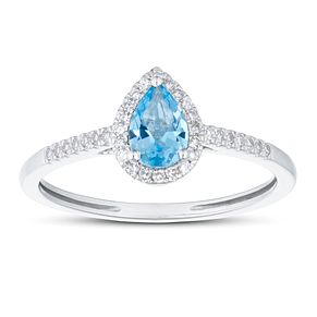 9ct White Gold Pear Cut Topaz & 1/10ct Diamond Halo Ring - Product number 1099655