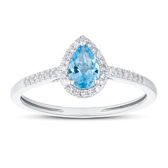 9ct White Gold Pear Cut Topaz & 0.10ct Diamond Halo Ring - Product number 1099655