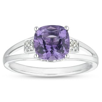 Sterling Silver Amethyst & Diamond Ring - Product number 1100106