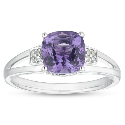Silver Cushion Cut Amethyst & Diamond Ring - Product number 1100106