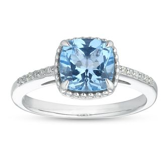 Sterling Silver Cushion Cut Blue Topaz & Diamond Ring - Product number 1100734