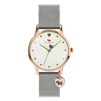 Radley London Ladies' White Dial Silver Tone Mesh Watch - Product number 1104365