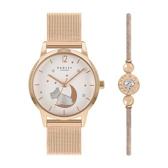 Radley Ladies' Rose Gold Tone Watch & Bracelet Gift Set - Product number 1104381