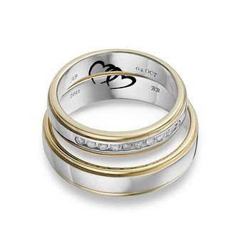 Commitment 9ct Two Colour Gold 1/10 Carat Diamond Ring Set - Product number 1108794