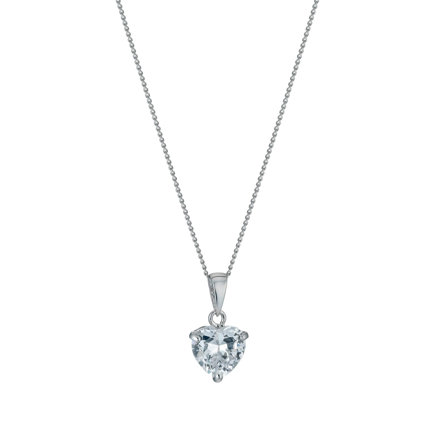 9ct White Gold 18 inches Cubic Zirconia Heart Pendant - Product number 1109928