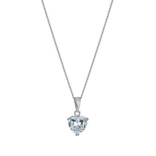 "9ct White Gold 18"" Cubic Zirconia Heart Pendant - Product number 1109928"