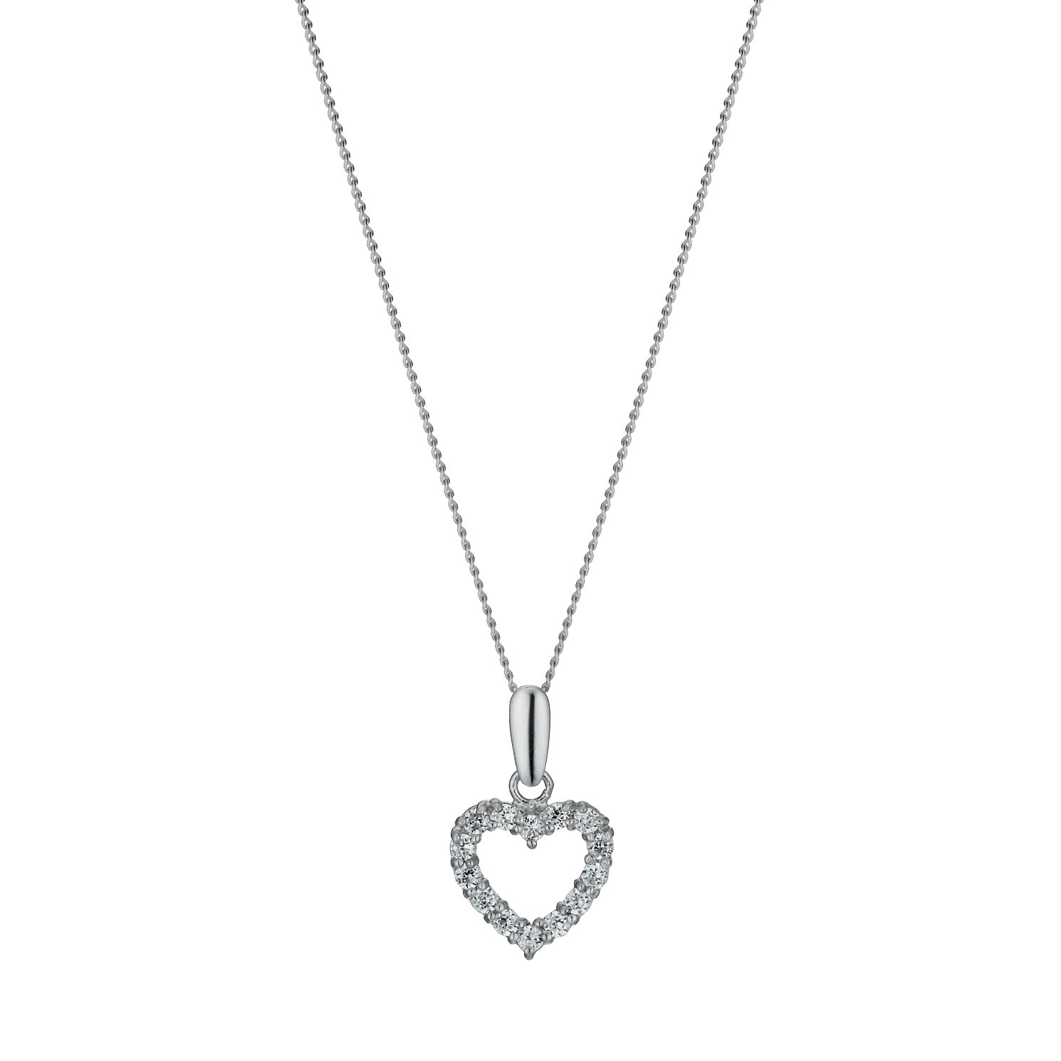 9ct White Gold 18 inches Cubic Zirconia Heart Pendant - Product number 1109936