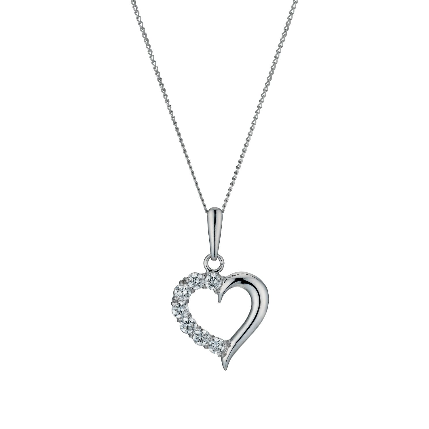 9ct White Gold 18 inches Cubic Zirconia Half Heart Pendant - Product number 1109952