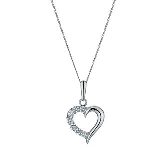 "9ct White Gold 18"" Crossover Cubic Zirconia Heart Pendant - Product number 1109952"