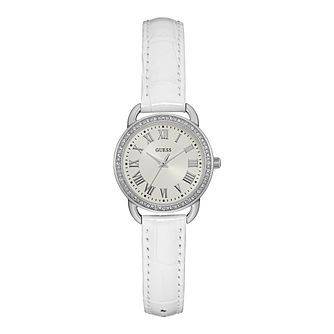Guess Ladies White Dial White Leather Strap Watch - Product number 1111639