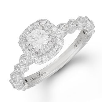 Neil Lane 14ct White Gold 3/5ct Diamond Halo Ring - Product number 1111906