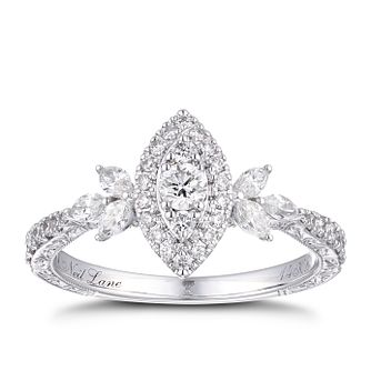 Neil Lane 14ct White Gold 0.69ct Total Diamond Halo Ring - Product number 1112112