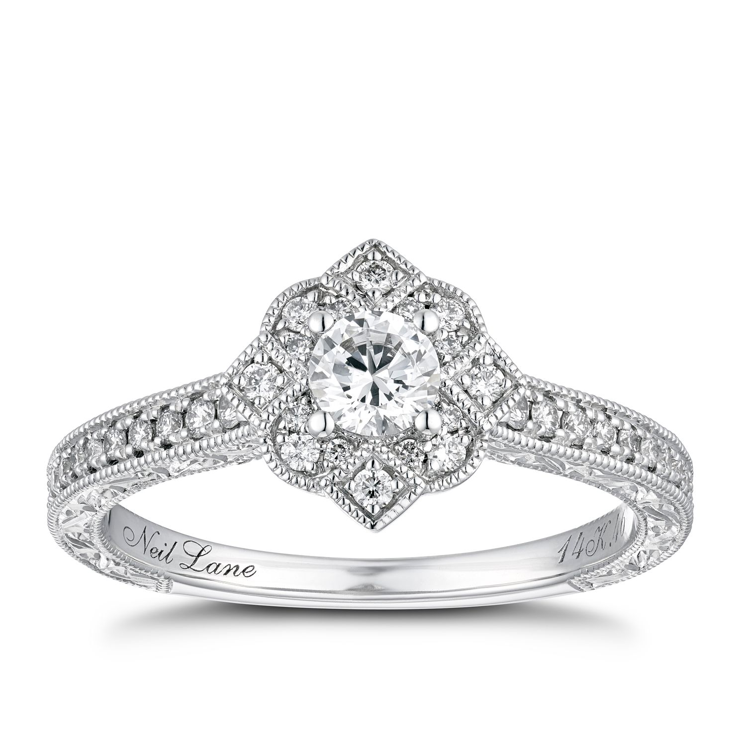 Neil Lane 14ct White Gold 0.46ct Diamond Halo Ring - Product number 1112309