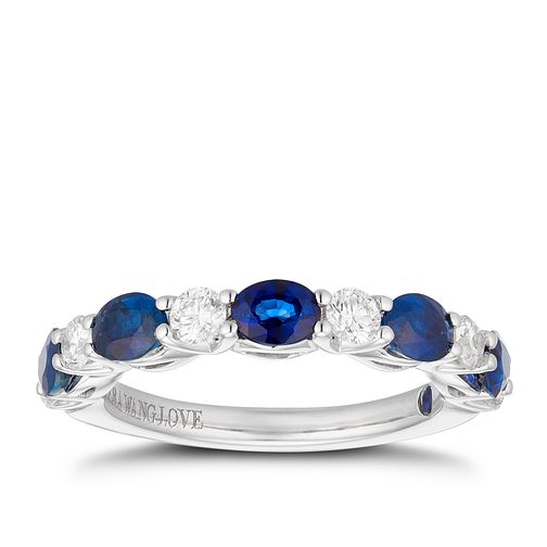Vera Wang 18ct White Gold 0.38ct Diamond & Sapphire Ring - Product number 1112538