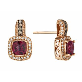 Le Vian 14ct Strawberry Gold diamond & rhodolite earrings - Product number 1113348