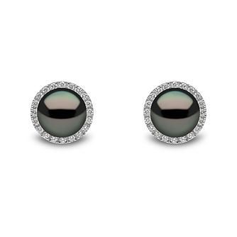 Yoko London 18ct White Gold Tahitian Pearl Diamond Earrings - Product number 1113461