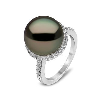 Yoko London 18ct White Gold Tahitian Pearl & Diamond Ring - Product number 1113704