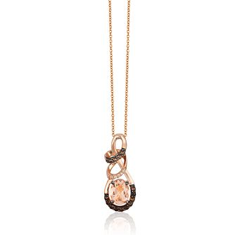 Le Vian 14ct Strawberry Gold Morganite & Diamond Pendant - Product number 1114646